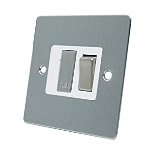 AET FSCSFSWS Satin Chrome Flat Spur White Insert Metal Rocker Switch-13 Amp Switched Fused Connection Unit