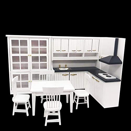 TianranRT❄ Miniküche 1:12 Mini Dollhouse Miniküche Esstisch Und Stuhl Cabine (Farbig)