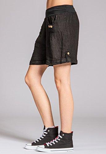CASPAR BST002 Short en lin pour femme Noir
