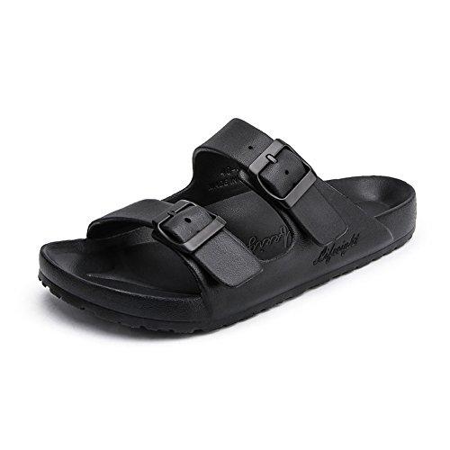 RDJM Männer Und Frauen Mule Hausschuhe Bad Dusche Hausschuhe Mit Fußmassage Fashion Sandale,Black,40 - Schwarze Folien Clogs