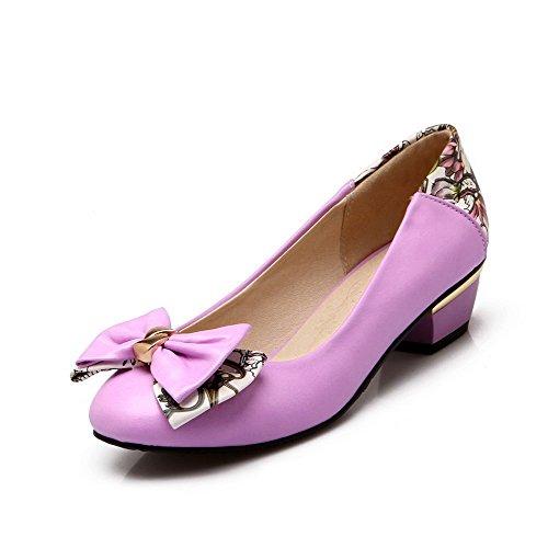 Baixas Dedo Couro Mais Do Pu Roxos Pé Sapatos Senhoras Puxar