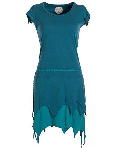 ekleidung - Lagenlook Zipfelkleid aus Bio-Baumwolle ohne Ärmel türkis 36 (Türkis Hexe Kostüme)