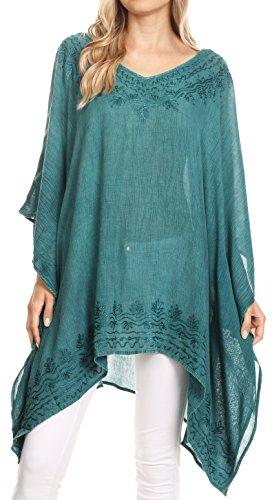 Sakkas 1801 - Regina Frauen leichte Stonewashed Poncho Top Bluse Kaftan vertuschen - Teal - OS -