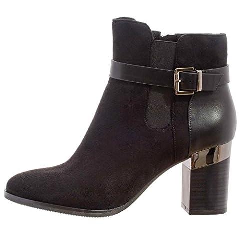 Chaussure Femme Bottine Hiver Aspect Daim Talon 8cm Fermeture Eclair Cheville et Boucle Couleur Noir Taille 40