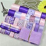 New 28Yards Pink DIY Handmade hairbows Accessory Material Ribbon Satin/Grosgrain/Cotton lace dot Printed Ribbon Set Ship