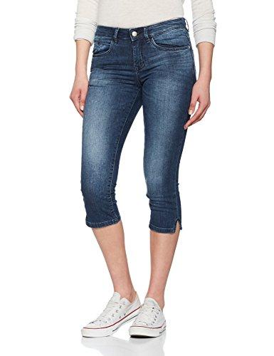 TOM TAILOR Damen Shorts Alexa Capri, Blau (Mid Stone Wash Denim 1052), W27 (Capri Slim-jeans)