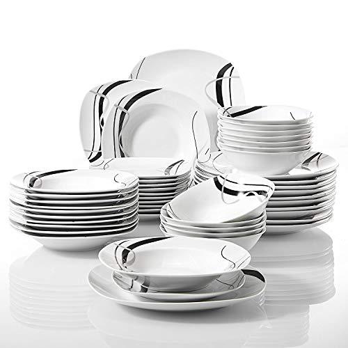 Veweet FIONA 48pcs Service de Table Pocelaine 12pcs Assiettes Plates 24,6cm, 12pcs Assiette Creuse 21,5cm, 12pcs Assiette à Dessert 19cm, 12pcs Bols à Céréales 17cm Vaisselles pour 12 Personnes