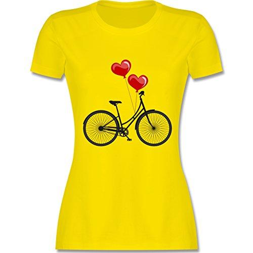 Vintage - Fahrrad Herz Luftballons - tailliertes Premium T-Shirt mit Rundhalsausschnitt für Damen Lemon Gelb
