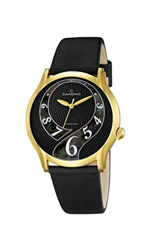 Candino-Orologio da donna al quarzo con Display analogico e cinturino in pelle, colore: nero, 3 C4552