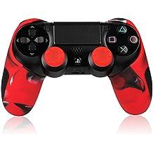 TurnRaise Funda Silicona Protectora para Mando Consola de PS4 ,Funda para PS4 Controlador con 2 Thumb Grip (Rojo)