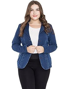YAANCUN Mujer Solapa Botones Chaquetas Jacket De Mezclilla Abrigo Denim Jackets De Invierno