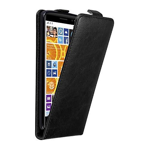 Cadorabo Coque pour Nokia Lumia 830 en Noir Nuit - Housse Protection en Style Flip avec Fermoire Magnétique - Etui Poche Folio Case Cover