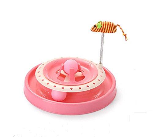 AnGe Doppelschicht Interaktives Katzenspielzeug mit, Cat Kitten Catch The Mouse , pink