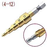 AimdonR - Juego de Brocas escalonadas (HSS-, 4-12, Broca de Broca de Acero de Titanio para cortadores Perforados con Revestimiento de Metal y Juego de Herramientas de Cambio rápido de 1/4 Pulgadas)