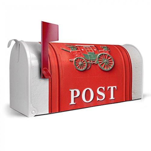 BANJADO US Mailbox | Amerikanischer Briefkasten 51x22x17cm | Letterbox Stahl weiß | mit Motiv Postkasten Nostalgie, Briefkasten:ohne Standfuß