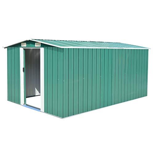 tidyard Caseta de Jardín Exterior con 4 Ventilación para Almacenamiento de Herramientas de A Prueba de Polvo y Resistente a la Intemperie de Acero Galvanizado 257x398x178 cm Verde