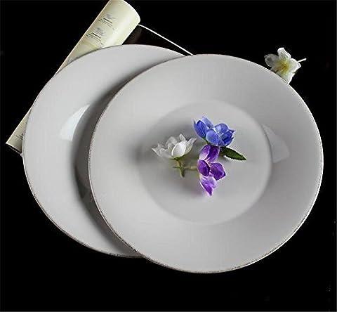 CHENXXOO Assiettes Plates Céramique En Couleur Solide Rétro Snack Rond Snack Tablette de Fruits de Déjeuner 2 Taille 23 * 2.8cm