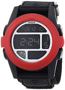 Nixon Herren-Armbanduhr XL Baja All Black / Red Digital Quarz Nylon A4891760-00