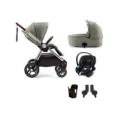 Mamas & Papas Ocarro Pushchair Sage Green 5 Piece Bundle (Pushchair, Carrycot, Cupholder, Atan Car Seat and Pushchair Car Seat Adaptor)