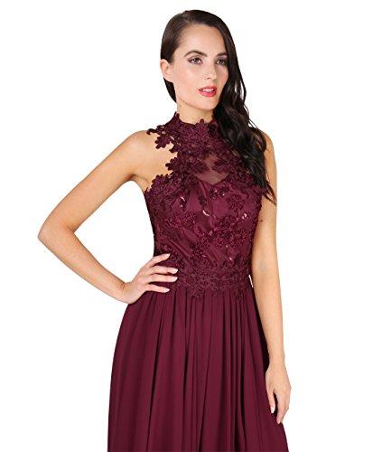 KRISP® Damen Elegante Maxi Kleider Bodenlange Festkleider Weinrot (4812)