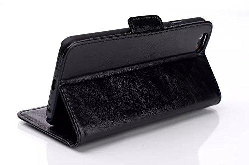 Custodia inShang cover per iphone 6 plus 5.5 iPhone 6+, Supporto rigido per iphone6 Case in pelle PU - Custodia a portafoglio con taschini per carte di credito, + inShang Logo pennino di alta classe Oil-pull black