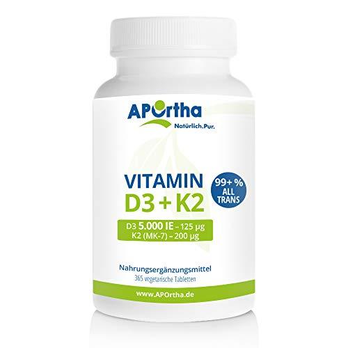 APOrtha Natto Vitamin K2 MK7 200 µg + Vitamin D3 5.000 i.E. | 365 Tabletten | hochdosiert
