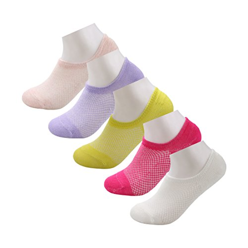 sourcingmap Unisex 5-Pack Nonslip Mesh Breathable Low Cut Cotton No Show Socks
