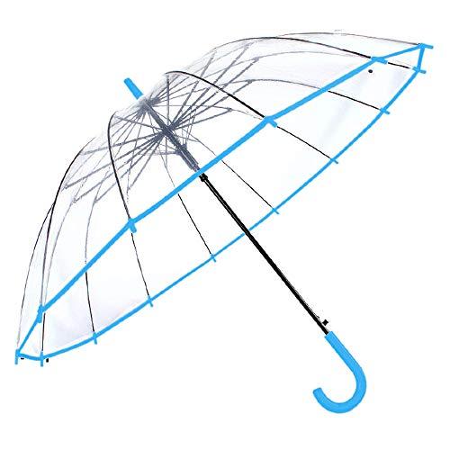 Transparenter Regenschirm. Transparenter Regenschirm, groß, Winddicht, automatisch, 14 Stangen aus Fiberglas Regenschirm Blau blau -