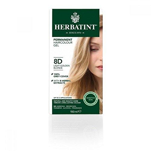 Tinta per capelli colorazione permanente senza ammoniaca naturale herbatint 265 ml n. 8 d colore biondo chiaro dorato
