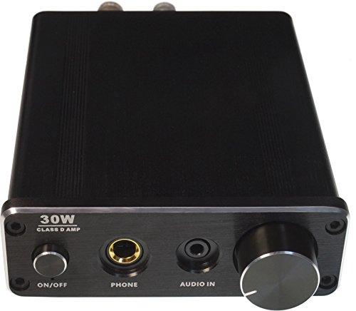 FeinTech AVS00100 Digital Mini HiFi Audio-Verstärker Class-D 30W Stereo inklusive Netzteil mit Kopfhörer-Verstärker schwarz (Lautsprecher Kopfhörer Verstärker)