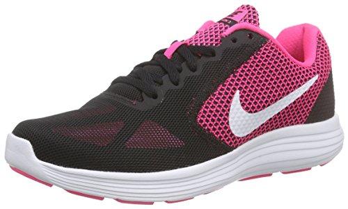 Nike wmns revolution 3, scarpe running donna, rosa (hyper pink/white/black), 42 eu