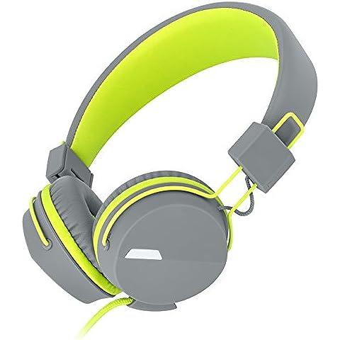 Kanen I39 HIFI Stereo On-ear Auriculares con Micrófono para Niño/Adulto(Verde)