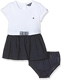 Tommy Hilfiger Combi Dress S/S, Vestido para Bebés, Blanco (Classic White), 62