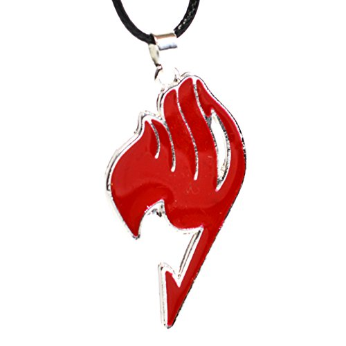 Cosplay Anime Fairy Tail Guild Logo Anhänger - Natsu Dragneel Halskette (rot) (Anime Fairy Halskette Tail)