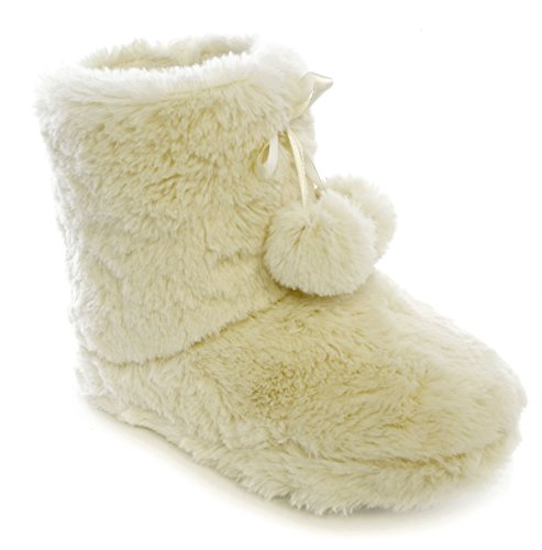 Pantofole donna peluche foderato in pile Bootie Pantofole Bianco (Avorio)
