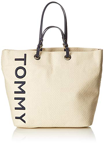 Tommy Hilfiger Damen Tommy Summer Raffia Tote Beige (Naturalbrightwhite), 19.5x35.5x55 cm (Tommy Hilfiger Shopper)