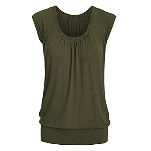 Sanfashion - camicia - con bottoni - tinta unita - a punta tonda - manica corta - donna verde militare xl