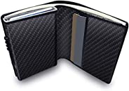 Mens Card Wallet, Automatic Pop up RFID Blocking Wallet for Men, Minimalist Credit Card Holder with ID Window