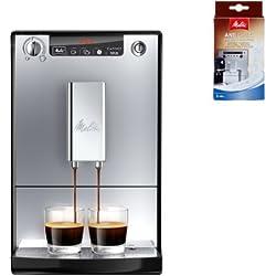 Melitta Starter Pack: Melitta E 950-103 Kaffeevollautomat Caffeo Solo mit Vorbrühfunktion, silber/schwarz + Entkalker + Milchreiniger + Mein Café Ganze Kaffeebohnen Dark Roast