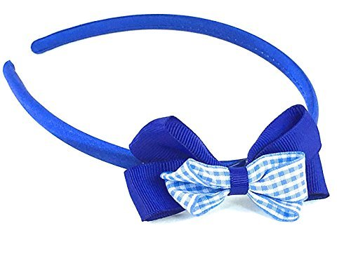 Girls Aliceband Satin Feel Checked Gingham Double Bow Hair Band School Colours (Blue) by Unknown