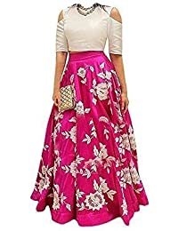MADHAVE FASHION Girl's Velvet Semi-Stitched Lehanga Choli (5-6 Years,White & Pink)