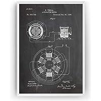Tesla Poster de Patente Alternating Motor Patent Póster Con Diseños Patentes Decoracion de Hogar Inventos Carteles Prints Wall Art Posters Regalos Decor Blueprint - Marco No Incluido