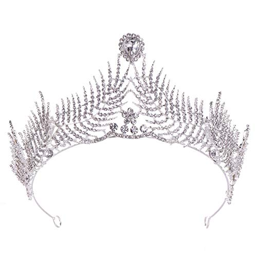 Fengbingl-ac Braut Kopfschmuck Krone Vintage Queen Crown Barock Strass Braut Hochzeit Pageant Prom Kronen Diademe für die Braut für Braut Erwachsene Royal Pageant Party Stirnband