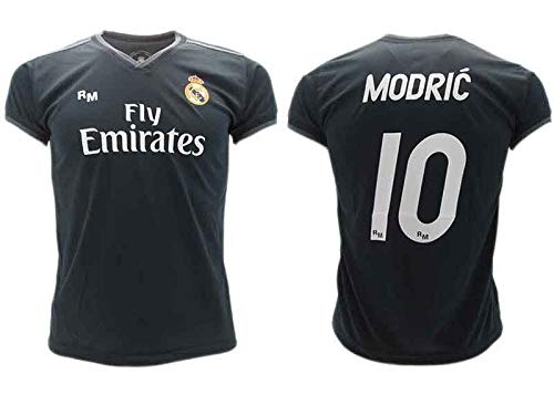 Camiseta de Fútbol Luka Modric 10 Real Madrid 2ª Equipación Negra Temporada 2018-2019 Replica Oficial con Licencia Blister - Todos Los Tamaños NIÑO y Adulto (4 AÑOS)