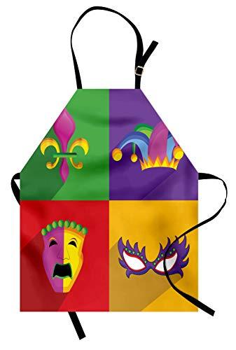 ABAKUHAUS Mardi Gras Kochschürze, Bunte Rahmen mit Mardi Gras Icons Masken Harlekin Hut und Fleur De Lis Print, Farbfest Höhenverstellbar Waschbar Klarer Digitaldruck, Mehrfarbig
