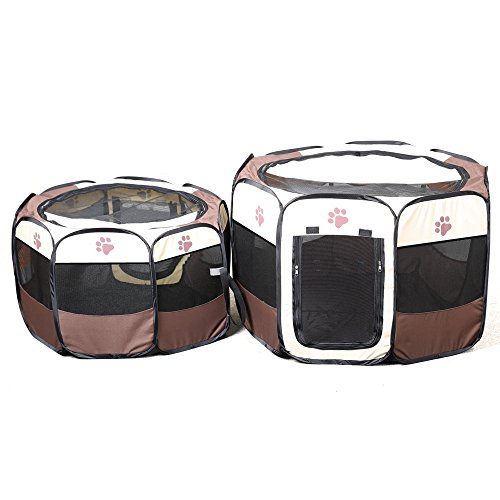 Easylifer Tragbare Falten Stoff Pet Play Pen Welpen-Hundekatze Kaninchen Meerschweinchen Playpen Run Playpen Crate Cage Kennel Spielen Ten (S, Kaffee) -