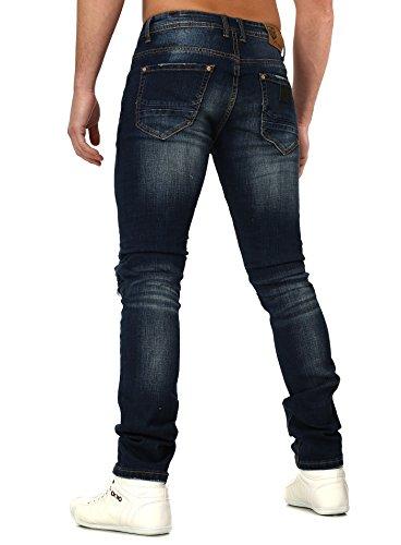 Free Side Homme Jeans NIMES détruit Regardez Mince Fit Millésime Style Bleu foncé