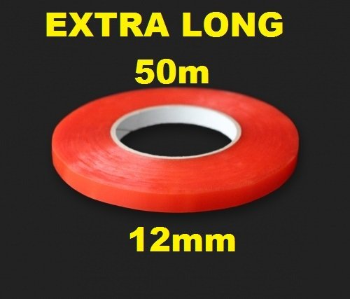 12 mm Rouge adhésif double face ruban adhésif Easy Lift Super solide Extra long 50 m