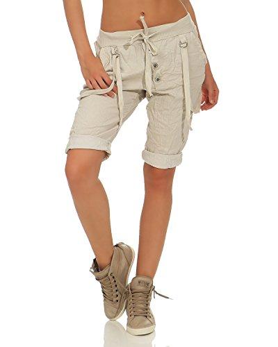 Zarmexx capri da donna pantalone caldo pantaloncini bermuda in cotone con lacci beige taglia unica (38-44)