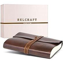 Tivoli mittelgroßes Notizbuch aus recyceltem Leder, Handgearbeitet in klassischem Italienischem Stil, Geschenkschachtel inklusive, Tagebuch, Lederbuch (12x17 cm) Braun